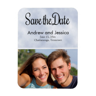 Sky Blue Wedding Save the Date Photo Magnet