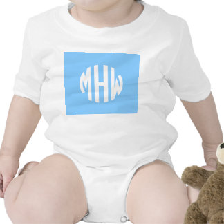 Sky Blue White 3 Initials in a Circle Monogram Baby Bodysuits