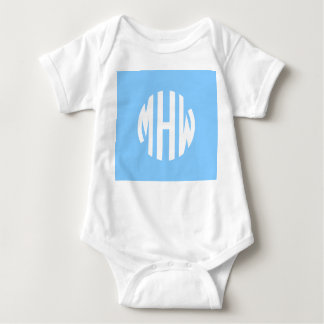 Sky Blue White 3 Initials in a Circle Monogram T Shirt