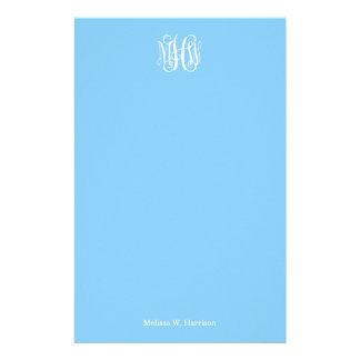 Sky Blue White 3 Initials Vine Script Monogram Personalized Stationery