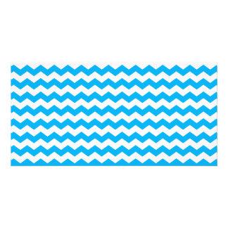 sky blue  white chevrons photo cards