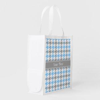 Sky Blue White Dk Gray Houndstooth Name Monogram Reusable Grocery Bag
