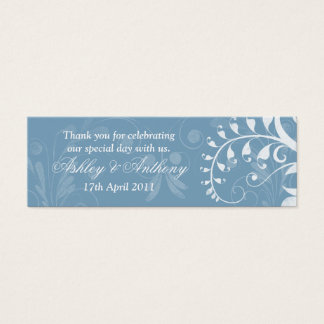 Sky Blue White Floral Wedding Favour Tags Mini Business Card