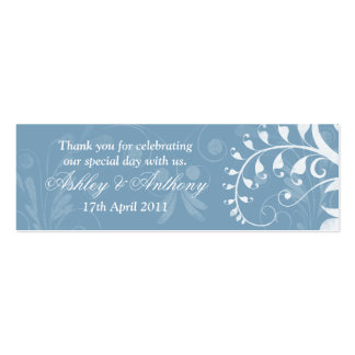 Sky Blue White Floral Wedding Favour Tags Pack Of Skinny Business Cards