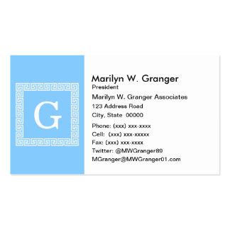Sky Blue White Greek Key Frame #1 Initial Monogram Pack Of Standard Business Cards