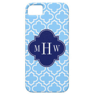 Sky Blue White Moroccan #6 Navy 3 Initial Monogram iPhone 5 Covers