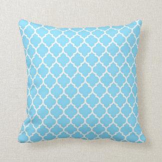 Sky Blue - White Quatrefoil Pillow