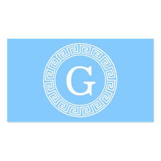 Sky Blue Wht Greek Key Rnd Frame Initial Monogram Pack Of Standard Business Cards