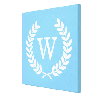 Sky Blue Wht Wheat Laurel Wreath Initial Monogram Gallery Wrapped Canvas