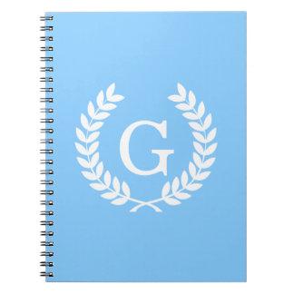 Sky Blue Wht Wheat Laurel Wreath Initial Monogram Spiral Note Book
