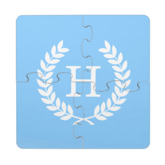Sky Blue Wht Wheat Laurel Wreath Initial Monogram Puzzle Coaster