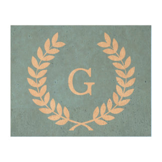 Sky Blue Wht Wheat Laurel Wreath Initial Monogram Cork Paper