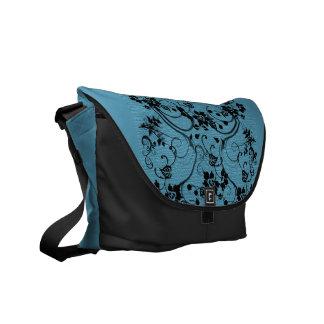Sky Blue with Black Scroll Design Messenger Bag