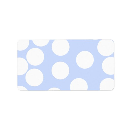 Sky blue with large white dots. address label