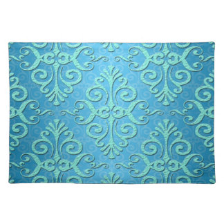Sky Blue with Teal Fancy Damask Place Mat