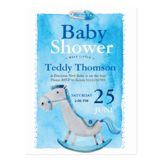 Sky Blue wooden horse boy baby shower hand painted Postcard