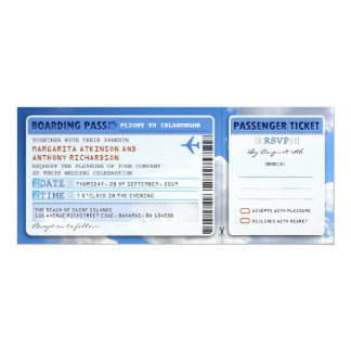 sky boarding pass wedding ticket-invite with rsvp 10 cm x 24 cm invitation card
