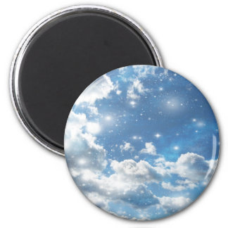 Sky Clouds Sparkles 6 Cm Round Magnet