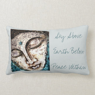 Sky Earth Peace Quote Buddha Watercolor Art Pillow