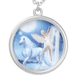 Sky Faerie Asparas and Unicorn Silver Plated Necklace