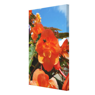 sky, flowers and bee canvas print