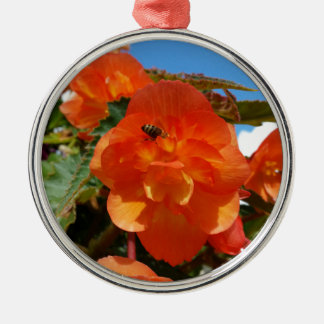 sky, flowers and bee metal ornament