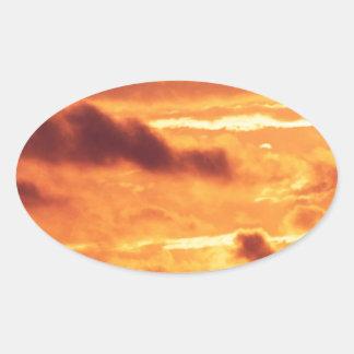 Sky Golden Glow Oval Sticker