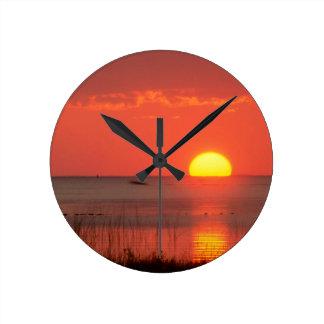 Sky Golden Moment Gulf Mexico Florida Round Wallclock