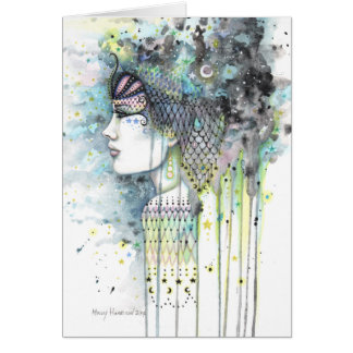 Sky Gypsy Fantasy Bohemian Contemporary Woman Art Card