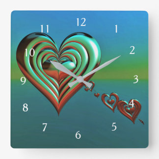 Sky High Hearts Square Wall Clock