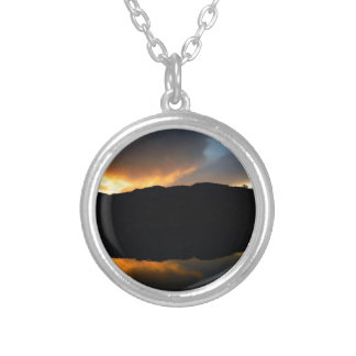 sky in the mirror silver plated necklace