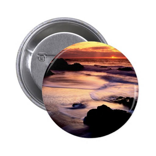 Sky Lands End Beach Golden Pinback Buttons