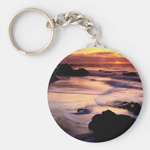 Sky Lands End Beach Golden Keychains