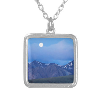 Sky Moonrise Over Alaskan Range Silver Plated Necklace