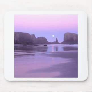 Sky Moonset Over Coquille Point Mouse Pads
