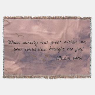 Sky Painting Christian Psalm 94:19 Print Throw Blanket