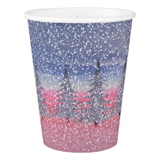 sky pink and snow paper cup