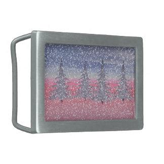 sky pink and snow rectangular belt buckle