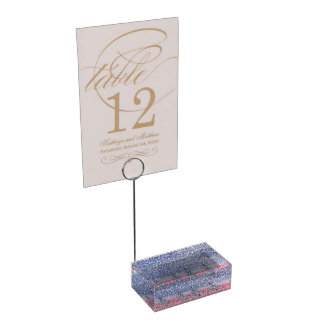 sky pink and snow table card holder
