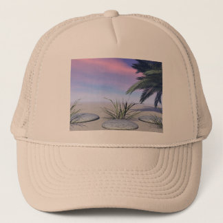 sky pink and zen trucker hat