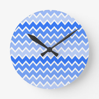 Sky Royal Blue Ombre Chevron Zigzag Pattern Round Clock