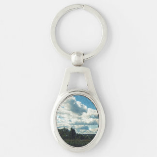Sky Sparkles Silver-Colored Oval Key Ring