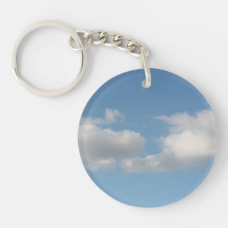 Sky with Clouds. Double-Sided Round Acrylic Key Ring