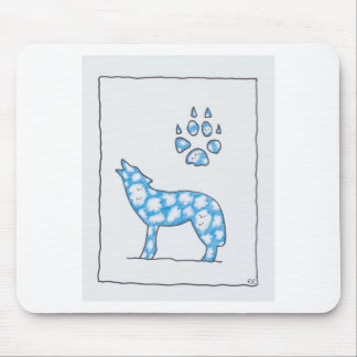 SKY WOLF ONE PAW PORTRAIT by Ruth I. Rubin Mouse Pad