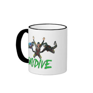 Skydive - Green Text Ringer Coffee Mug