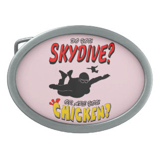 Skydive or Chicken? (blk) Belt Buckles