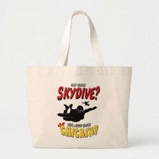 Skydive or Chicken? (blk) Large Tote Bag