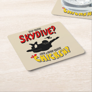 Skydive or Chicken? (blk) Square Paper Coaster