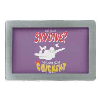 Skydive or Chicken? (wht) Belt Buckles