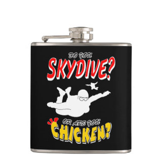 Skydive or Chicken? (wht) Hip Flask
